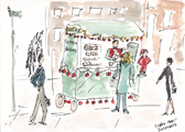 Coffee Cart in Midtown - Decorated for Christmas
