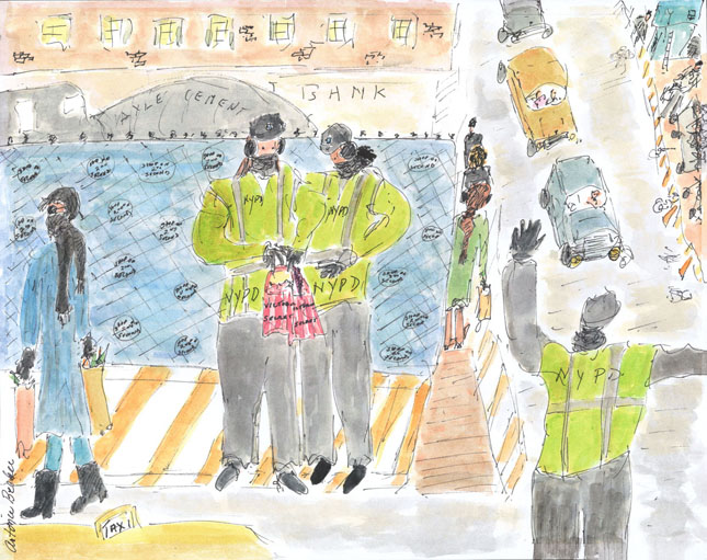 Break Time on a Cold Day - Two Crossing Guards at 86th Street and 2nd Avenue, Examining Their Purchases from Victoria's Secret